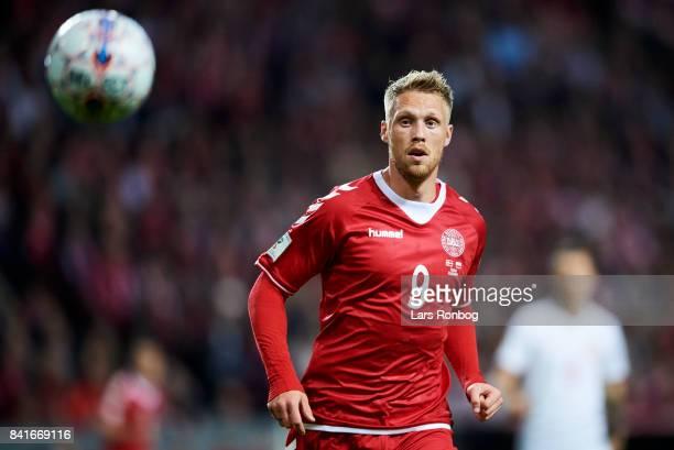 Nicolai Jorgensen of Denmark in action during the FIFA World Cup 2018 qualifier match between Denmark and Poland at Telia Parken Stadium on September...