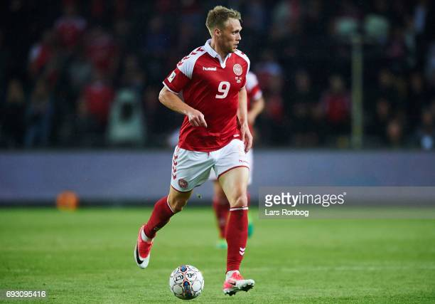 Nicolai Jorgensen of Denmark in action during the international friendly match between Denmark and Germany at Brondby Stadion on June 6 2017 in...
