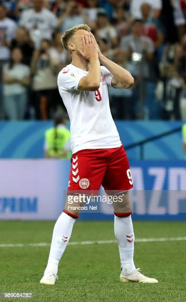 Nicolai Jorgensen of Denmark looks dejected after misseing his team's fifth penalty in the penalty shoot out during the 2018 FIFA World Cup Russia...