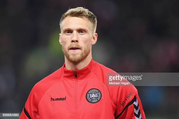Nicolai Jorgensen of Denmark looks on before the International Friendly match between Denmark and Panama at Brondby Stadion on March 22 2018 in...