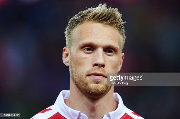 Nicolai Jorgensen of Denmark looks on during the international friendly match between Denmark and Germany at Brondby Stadion on June 6 2017 in...