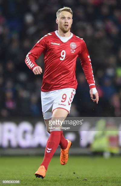 Nicolai Jorgensen of Denmark looks on during the International Friendly match between Denmark and Panama at Brondby Stadion on March 22 2018 in...