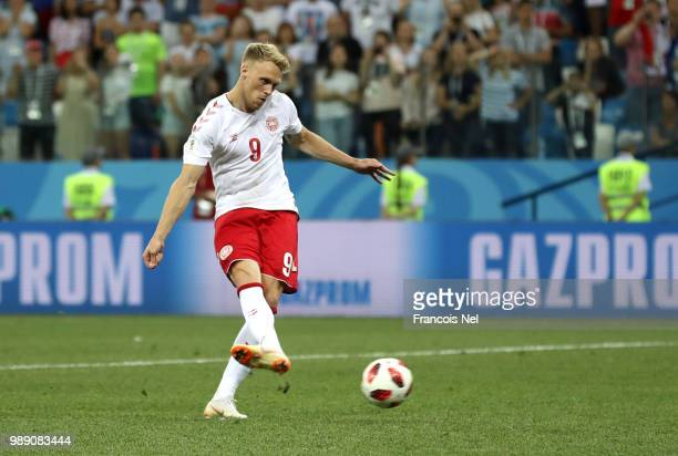 Nicolai Jorgensen of Denmark misses his team's fifth penalty in the penalty shoot out during the 2018 FIFA World Cup Russia Round of 16 match between...