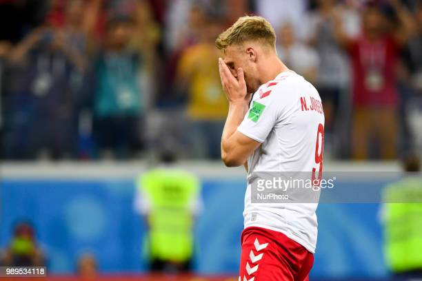 Nicolai Jorgensen of Denmark reacts after a penalty kick during the 2018 FIFA World Cup Round of 16 match between Croatia and Denmark at Nizhny...