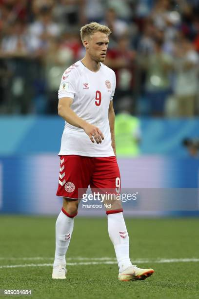 Nicolai Jorgensen of Denmark reacts after missing his side's fifth penalty during the pnalty shoot out following the 2018 FIFA World Cup Russia Round...