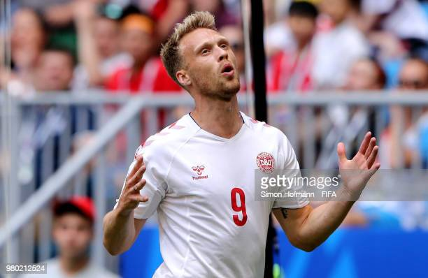 Nicolai Jorgensen of Denmark reacts during the 2018 FIFA World Cup Russia group C match between Denmark and Australia at Samara Arena on June 21 2018...