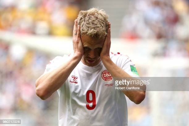 Nicolai Jorgensen of Denmark reacts prior to the 2018 FIFA World Cup Russia group C match between Denmark and Australia at Samara Arena on June 21...