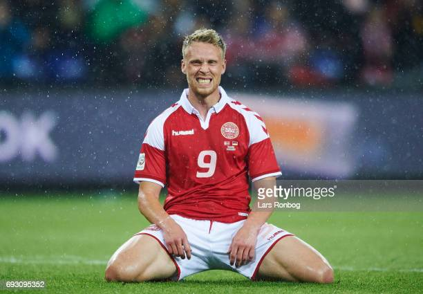 Nicolai Jorgensen of Denmark shows frustration during the international friendly match between Denmark and Germany at Brondby Stadion on June 6 2017...