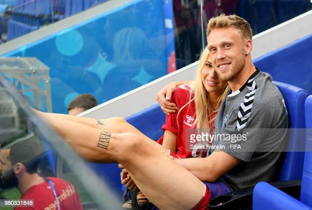 Nicolai Jorgensen of Denmark speaks with his wife Theresa Jorgensen after the 2018 FIFA World Cup Russia group C match between Denmark and Australia...