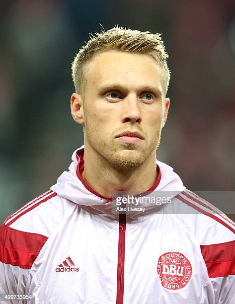 Nicolai Jorgensen of Denmark stands for the national anthem prior to the UEFA EURO 2016 Qualifier PlayOff Second Leg match between Denmark and Sweden...