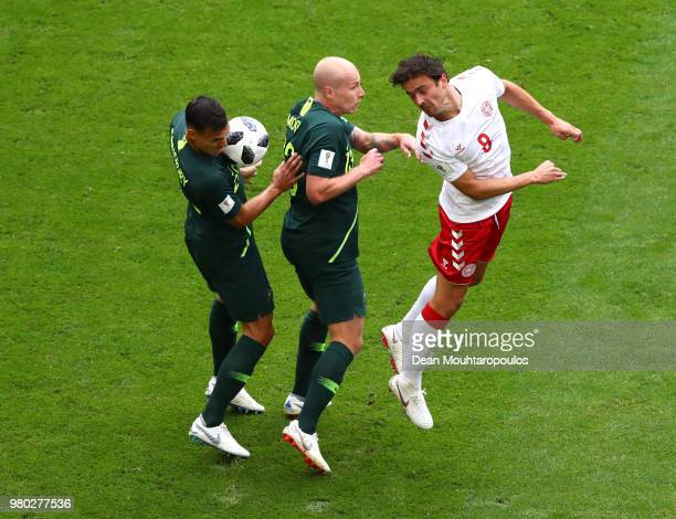 Denmark's goalkeeper Kasper Schmeichel blocks the ball during the Russia 2018 World Cup Group C football match between Denmark and Australia at the...