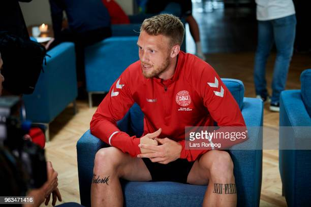 Nicolai Jorgensen of Denmark with is tattoos on the press conference prior to the Denmark training session Helsingor Stadion on May 28 2018 in...