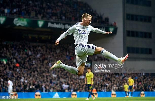 Nicolai Jorgensen of FC Copenhagen celebrates after scoring their second goal during the Danish Alka Superliga match between FC Copenhagen and...