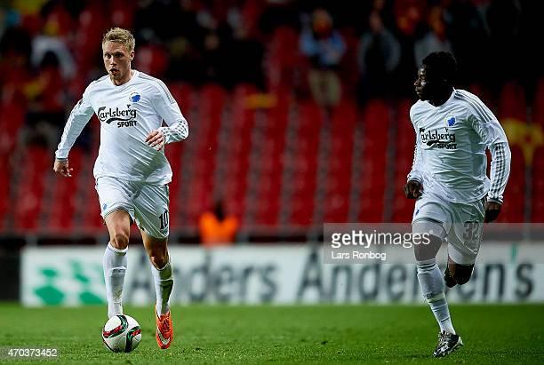 Nicolai Jorgensen of FC Copenhagen controls the ball in front of Danny Amankwaa during the Danish Alka Superliga match between FC Copenhagen and FC...