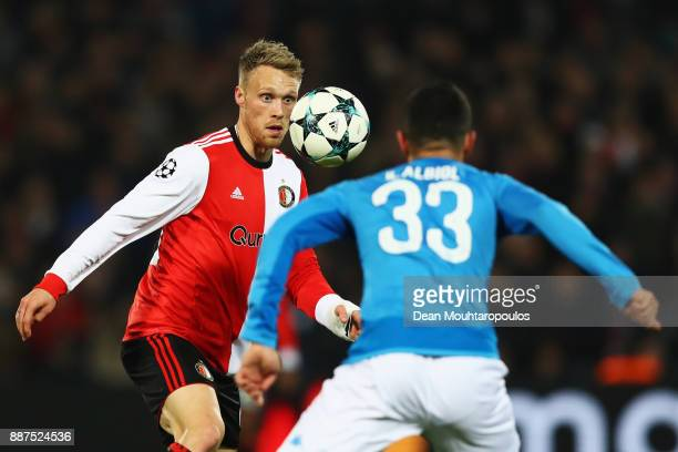 Nicolai Jorgensen of Feyenoord battles for the ball with Raul Albiol of Napoli during the UEFA Champions League group F match between Feyenoord and...