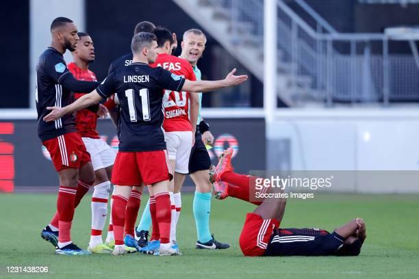 Nicolai Jorgensen of Feyenoord, Bryan Linssen of Feyenoord, Yukinari Sugawara of AZ Alkmaar, Luis Sinisterra of Feyenoord during the Dutch Eredivisie...