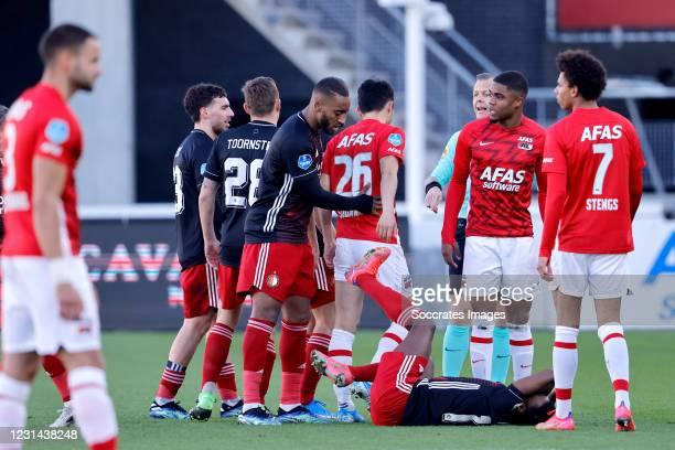 Nicolai Jorgensen of Feyenoord, Bryan Linssen of Feyenoord, Yukinari Sugawara of AZ Alkmaar, Luis Sinisterra of Feyenoord, Myron Boadu of AZ Alkmaar,...