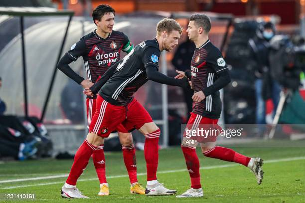 Nicolai Jorgensen of Feyenoord, Bryan Linssen or Feyenoord during the Dutch Eredivisie match between AZ Alkmaar and Feyenoord at the AFAS stadium on...