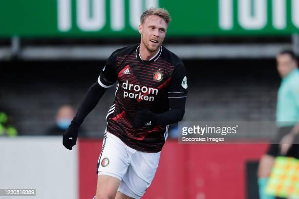 Nicolai Jorgensen of Feyenoord celebrates 0-2 during the Dutch Eredivisie match between Sparta v Feyenoord at the Sparta Stadium Het Kasteel on...