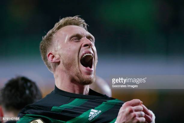 Nicolai Jorgensen of Feyenoord celebrates 02 during the Dutch Eredivisie match between FC Groningen v Feyenoord at the NoordLease Stadium on November...