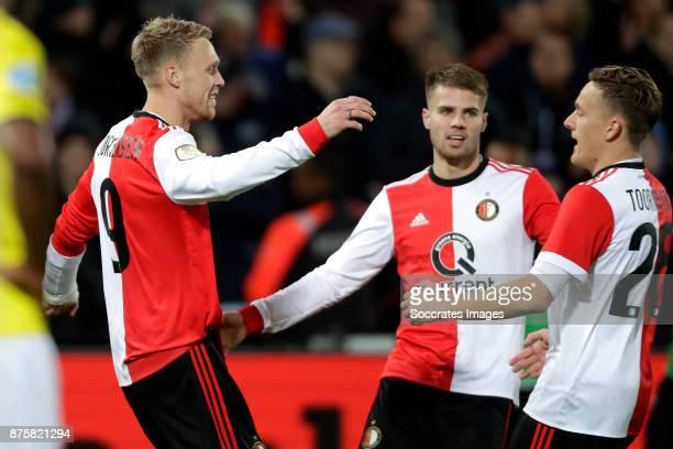 Nicolai Jorgensen of Feyenoord celebrates 10 with Bart Nieuwkoop of Feyenoord Jens Toornstra of Feyenoord during the Dutch Eredivisie match between...