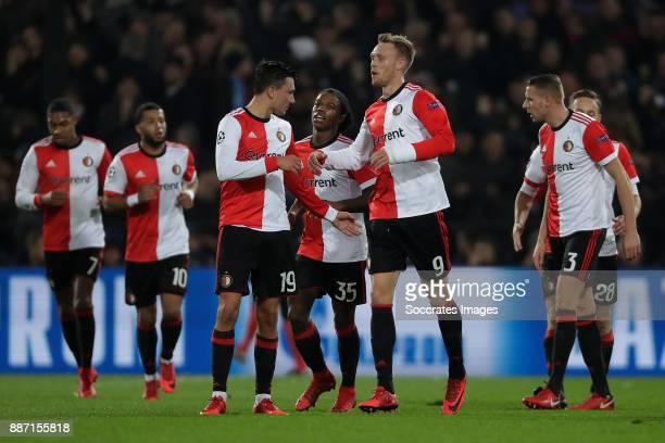Nicolai Jorgensen of Feyenoord celebrates 11 Steven Berghuis of Feyenoord Tyrell Malacia of Feyenoord during the UEFA Champions League match between...