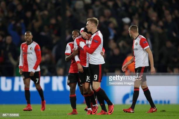 Nicolai Jorgensen of Feyenoord celebrates 11 Steven Berghuis of Feyenoord during the UEFA Champions League match between Feyenoord v Napoli at the...