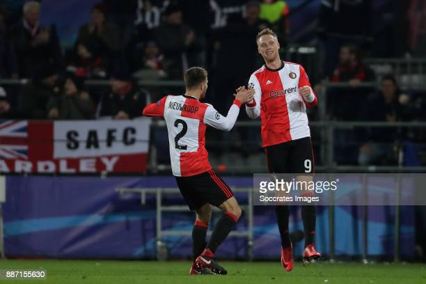 Nicolai Jorgensen of Feyenoord celebrates 11 with Bart Nieuwkoop of Feyenoord during the UEFA Champions League match between Feyenoord v Napoli at...