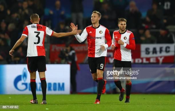 Nicolai Jorgensen of Feyenoord celebrates after scoring his sides first goal with Sven van Beek of Feyenoord during the UEFA Champions League group F...
