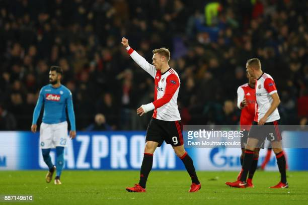 Nicolai Jorgensen of Feyenoord celebrates after scoring his sides first goal during the UEFA Champions League group F match between Feyenoord and SSC...