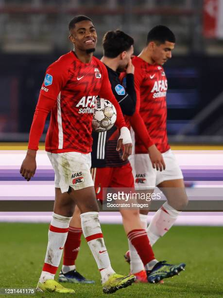 Nicolai Jorgensen of Feyenoord celebrates the victory during the Dutch Eredivisie match between AZ Alkmaar v Feyenoord at the AFAS Stadium on...