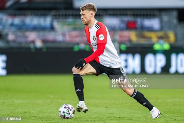 Nicolai Jorgensen of Feyenoord controls the ball during the Dutch Eredivisie football match between Feyenoord Rotterdam and VVV-Venlo in the Kuip on...