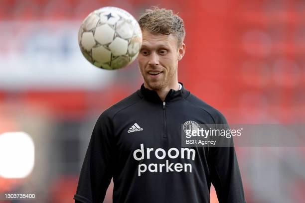 Nicolai Jorgensen of Feyenoord during the Dutch Eredivisie match between FC Twente and Feyenoord at De Grolsch Veste on February 21, 2021 in...