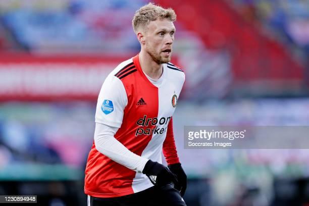 Nicolai Jorgensen of Feyenoord during the Dutch Eredivisie match between Feyenoord v PSV at the Stadium Feijenoord on January 31, 2021 in Rotterdam...