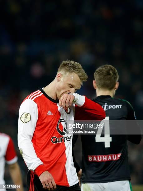Nicolai Jorgensen of Feyenoord during the Dutch Eredivisie match between Feyenoord v FC Groningen at the Stadium Feijenoord on February 8 2018 in...