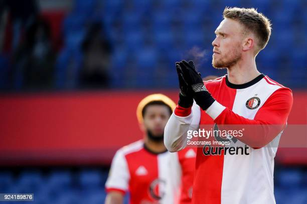 Nicolai Jorgensen of Feyenoord during the Dutch Eredivisie match between Feyenoord v PSV at the Stadium Feijenoord on February 25 2018 in Rotterdam...