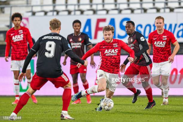 Nicolai Jorgensen of Feyenoord, Fredrik Midtsjo or AZ, Ridgeciano Haps or Feyenoord during the Dutch Eredivisie match between AZ Alkmaar and...