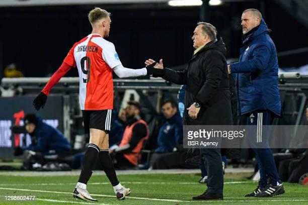 Nicolai Jorgensen of Feyenoord, Head Coach Dick Advocaat of Feyenoord during the Dutch Eredivisie match between Feyenoord and AZ Alkmaar at De Kuip...