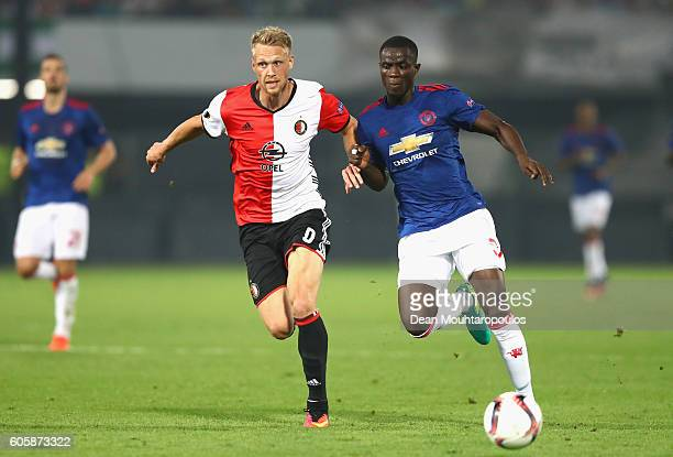 Nicolai Jorgensen of Feyenoord is chased down by Eric Bailly of Manchester United during the UEFA Europa League Group A match between Feyenoord and...