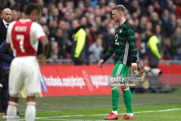 Nicolai Jorgensen of Feyenoord is leaving the pitch after receiving a red card during the Dutch Eredivisie match between Ajax v Feyenoord at the...