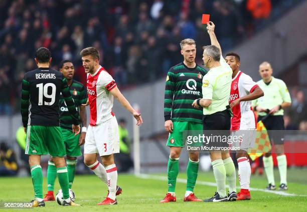 Nicolai Jorgensen of Feyenoord is shown a red card and is sent off by referee Bjorn Kuipersduring the Dutch Eredivisie match between Ajax Amsterdam...