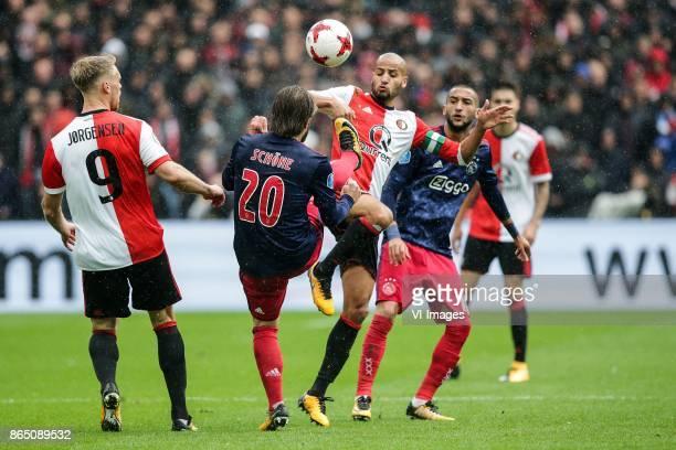 Nicolai Jorgensen of Feyenoord Lasse Schone of Ajax Karim El Ahmadi of Feyenoord Hakim Ziyech of Ajax during the Dutch Eredivisie match between...