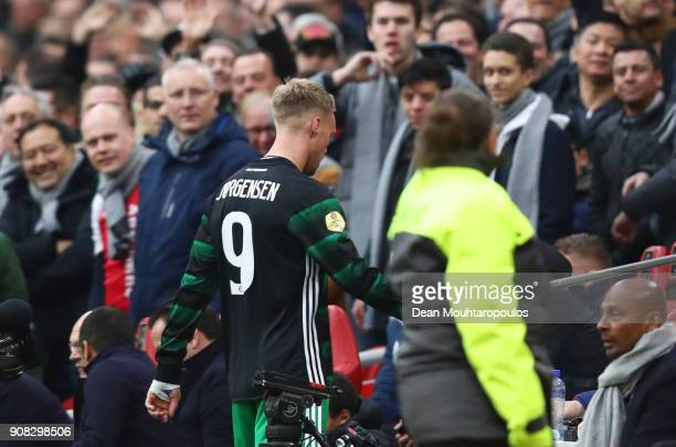 Nicolai Jorgensen of Feyenoord leaves the pitch as he is sent off during the Dutch Eredivisie match between Ajax Amsterdam and Feyenoord at Amsterdam...