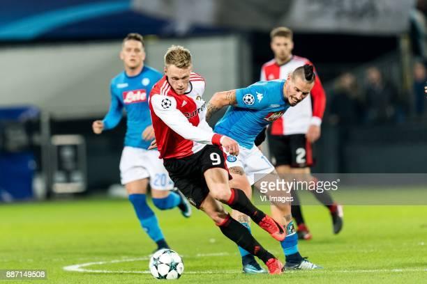Nicolai Jorgensen of Feyenoord Marek Hamsik of SSC Napoli during the UEFA Champions League group F match between Feyenoord Rotterdam and SSC Napoli...