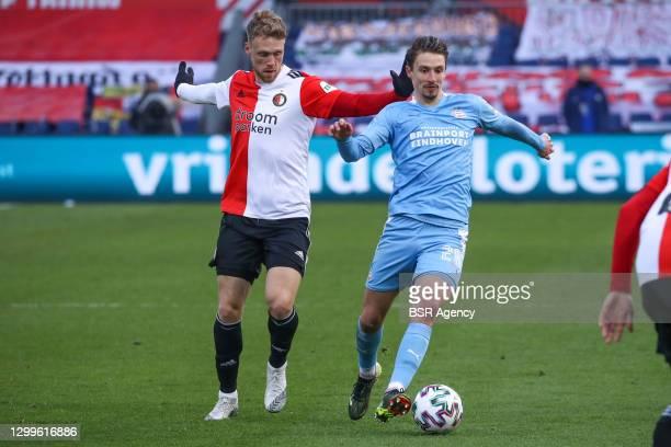 Nicolai Jorgensen of Feyenoord, Olivier Boscagli of PSV during the Dutch Eredivisie match between Feyenoord and PSV at De Kuip on January 31, 2021 in...