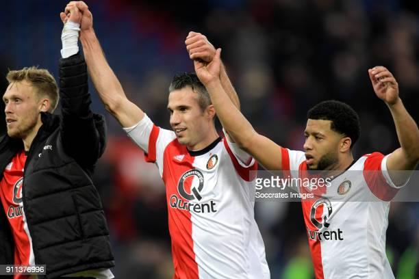 Nicolai Jorgensen of Feyenoord Robin van Persie of Feyenoord Tonny Vilhena of Feyenoord celebrates the victory during the Dutch Eredivisie match...