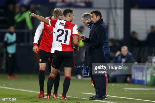 Nicolai Jorgensen of Feyenoord Sofyan Amrabat of Feyenoord coach Giovanni van Bronckhorst during the UEFA Champions League group F match between...