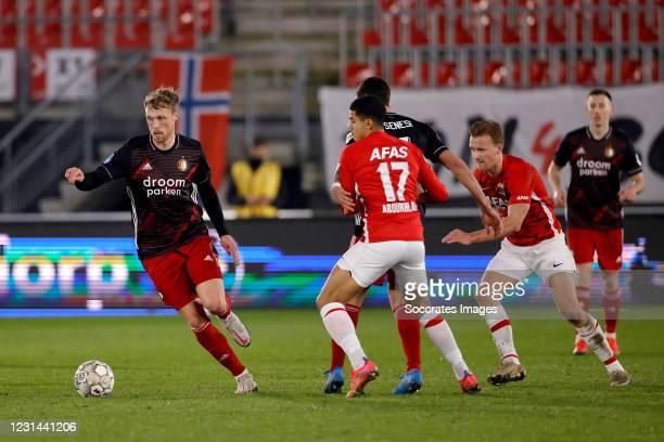Nicolai Jorgensen of Feyenoord, Zakaria Aboukhlal of AZ Alkmaar, Marcos Senesi of Feyenoord, Dani de Wit of AZ Alkmaar during the Dutch Eredivisie...