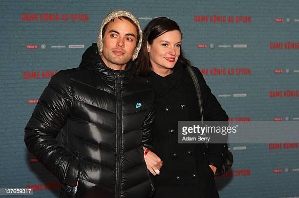 Nicolai Kinski and his girlfriend Ina Paule Klink arrive for the German premiere of the film 'Dame Koenig As Spion' at Kino International on January...