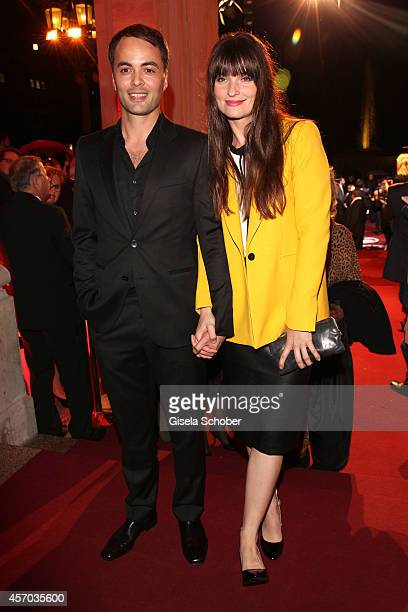 Nicolai Kinski and his girlfriend Ina Paule Klink attend the Hessian Film And Cinema Award 2014 on October 10, 2014 at Alte Oper in Frankfurt am...